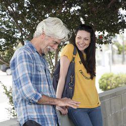 "Sam Elliott and Laura Prepon in ""The Hero."""