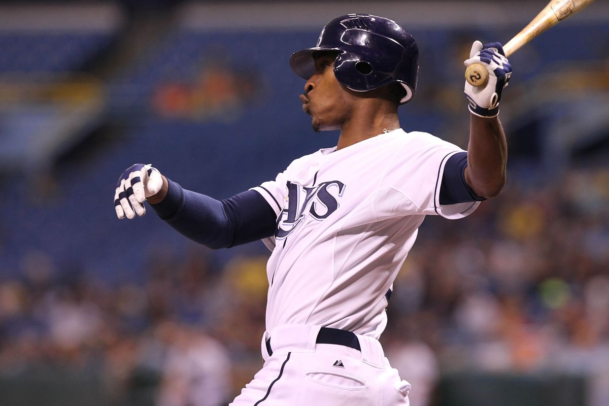 September 17, 2012; St. Petersburg, FL, USA; Tampa Bay Rays center fielder B.J. Upton (2) reacts at bat against the Boston Red Sox at Tropicana Field. Mandatory Credit: Kim Klement-US PRESSWIRE