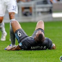 July 3, 2019 - Saint Paul, Minnesota, United States - Minnesota United forward Angelo Rodriguez (9) pounds his fists on the grass in frustration during the Minnesota United vs San Jose Earthquakes match at Allianz Field.