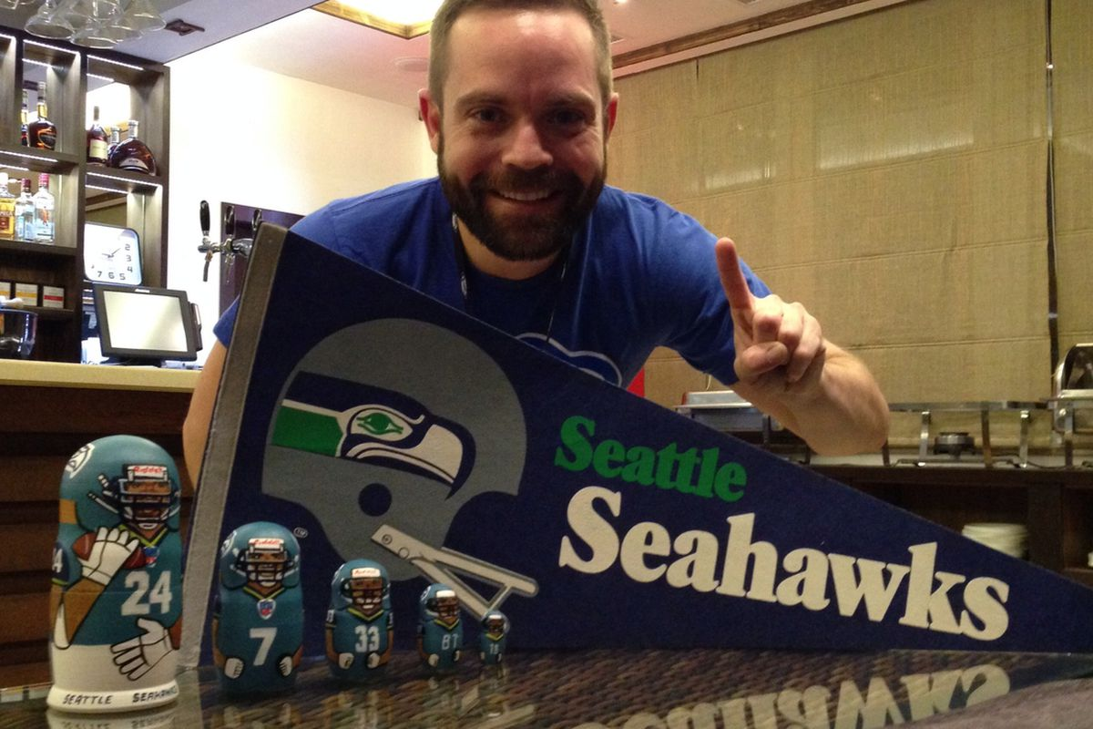 Ryan watched the Super Bowl from Russia, complete with Seahawks Russian nesting dolls.