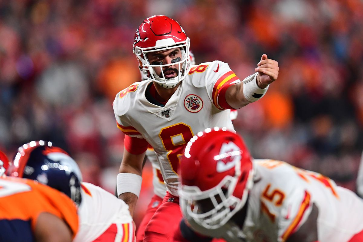 Kansas City Chiefs quarterback Matt Moore calls out from the goal line in the second quarter against the Denver Broncos at Empower Field at Mile High.