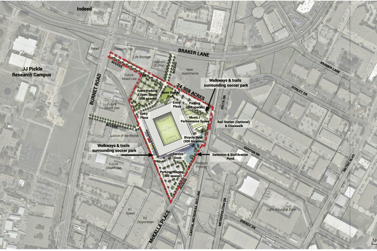 A map with drawing of stadium site on it