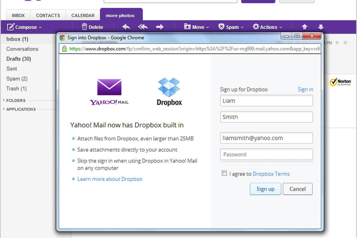 Yahoo mail adds dropbox attachment support deepens cloud yahoo dropbox stopboris Images