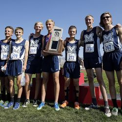 Millard runners win the 2A boys high school state cross-country championship in Cedar City on Wednesday, Oct. 21, 2020.