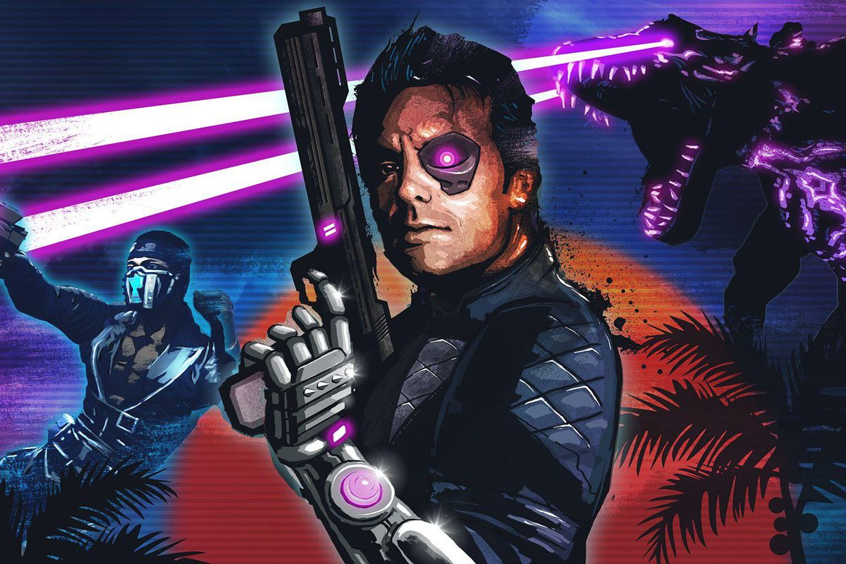 The box art from Ubisoft's Far Cry: Blood Dragon, featuring a man holding a cyber pisol