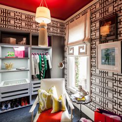"""The dressing room was designed by <a href=""""http://www.shelleyandcompany.com/"""">Shelley & Company Interior Design</a>.  It was designed with respect to """"the glamour of a bygone era where getting ready for dinner was an extravagant routine in itself."""" [Photo"""