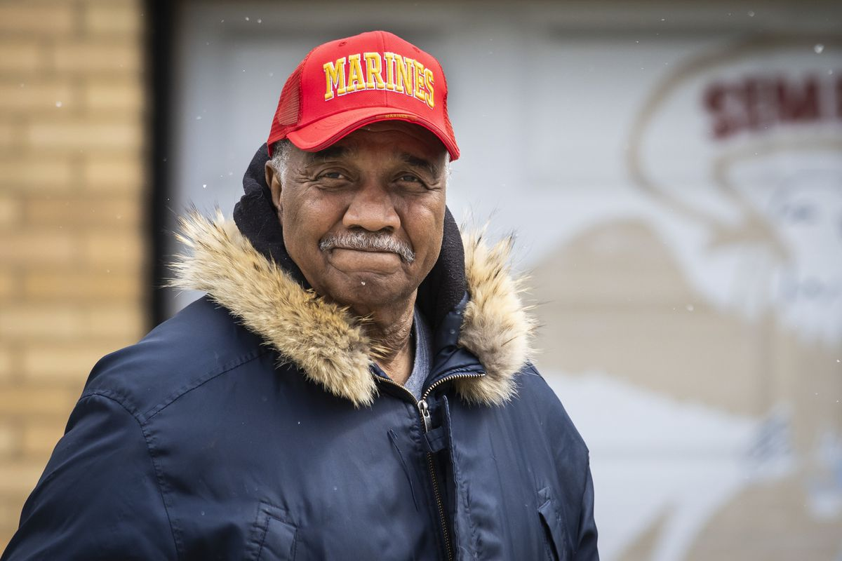 Paul Richard, 69, a retired Chicago firefighter and U.S. Marine who served in Vietnam, outside home in Beverly.