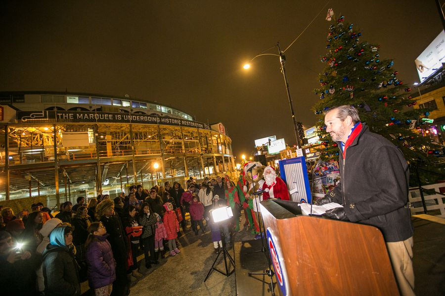 wrigley field tree lighting ceremony bleed cubbie blue