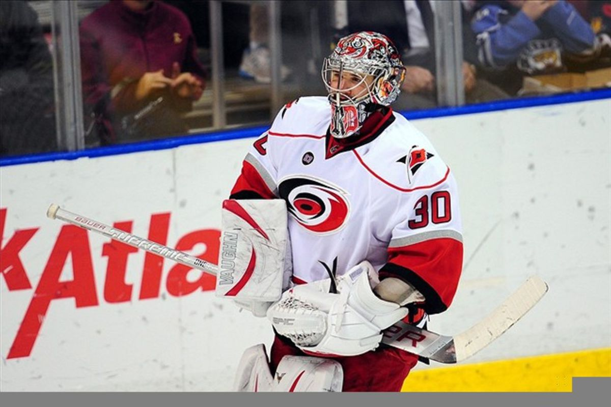 March 11, 2012: Sunrise, FL, USA; Cam Ward gets ready to stop at least 30 shots as the Hurricanes prepare for a game. Mandatory Credit: Steve Mitchell-US PRESSWIRE