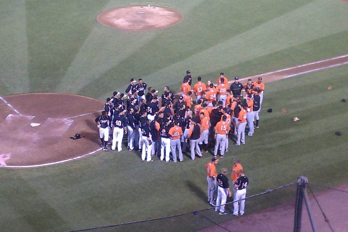 Things almost got ugly in Syracuse last night as the Chiefs and Norfolk Tides' benches cleared, but cooler heads prevailed and a scuffle broke out instead of a brawl. (photo courtesy of and ©Ben Meyers (aka Saratoga County Sports).