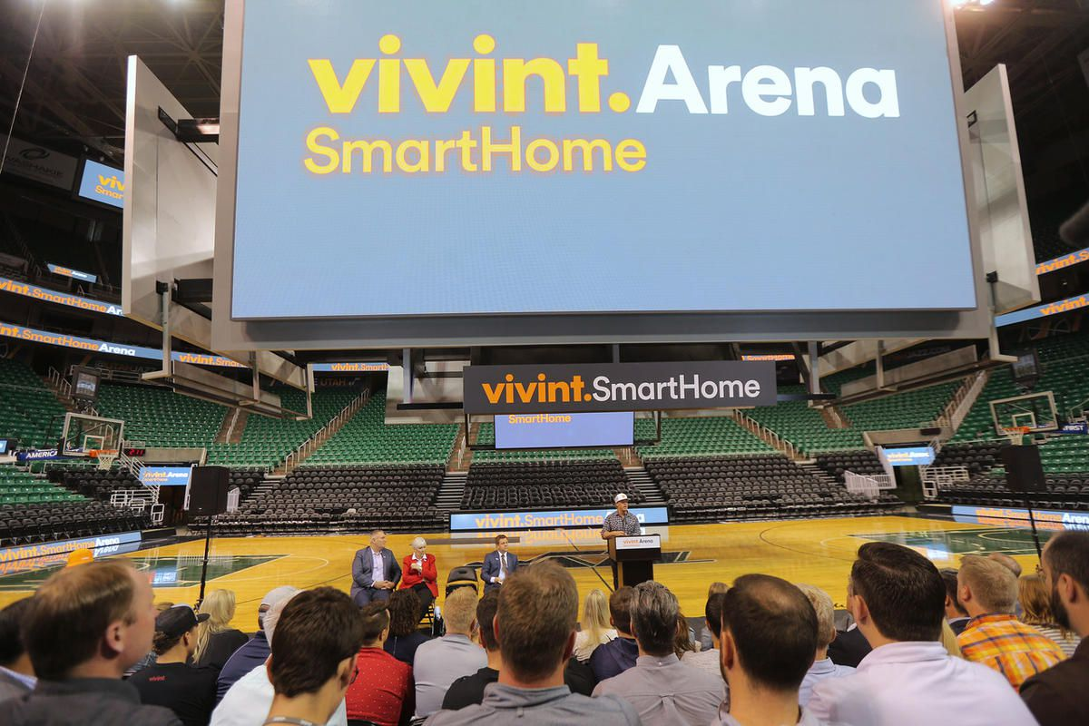 Employees from Larry H. Miller Group of Companies and Vivint, gather for the formal announcement Monday, Oct. 26, 2015, of the name change from EnergySolutions Arena to Vivint Smart Home Arena, in Salt Lake City.
