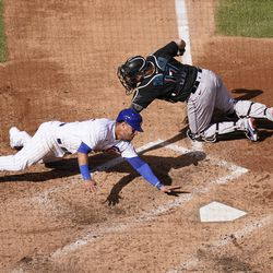 Willson Contreras thrown out at the plate in the fourth inning of Game 2 of the Wild Card Series vs. the Marlins, October 2