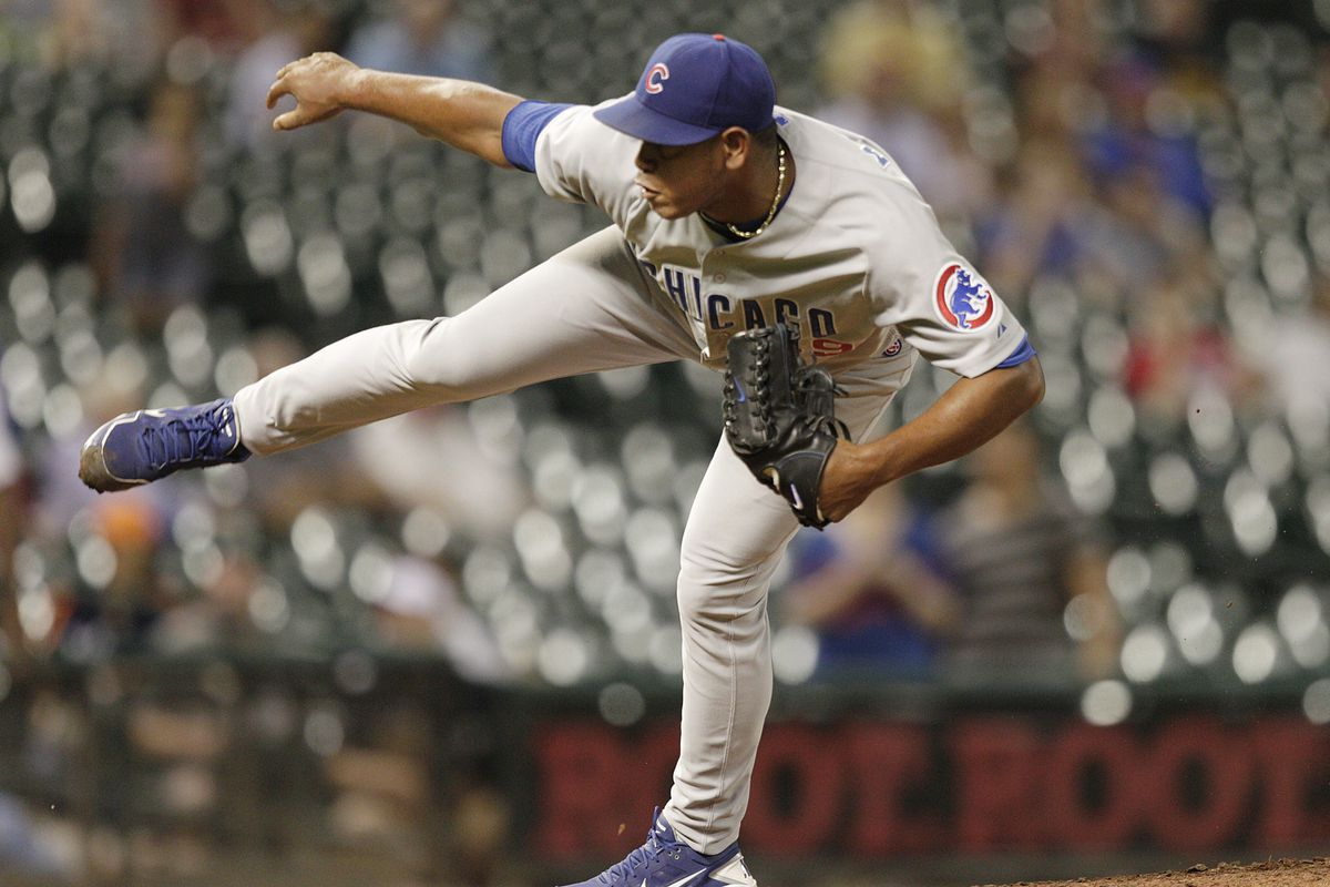 Carlos Marmol of the Chicago Cubs pitches against the Houston Astros at Minute Maid Park in Houston, Texas. (Photo by Bob Levey/Getty Images)