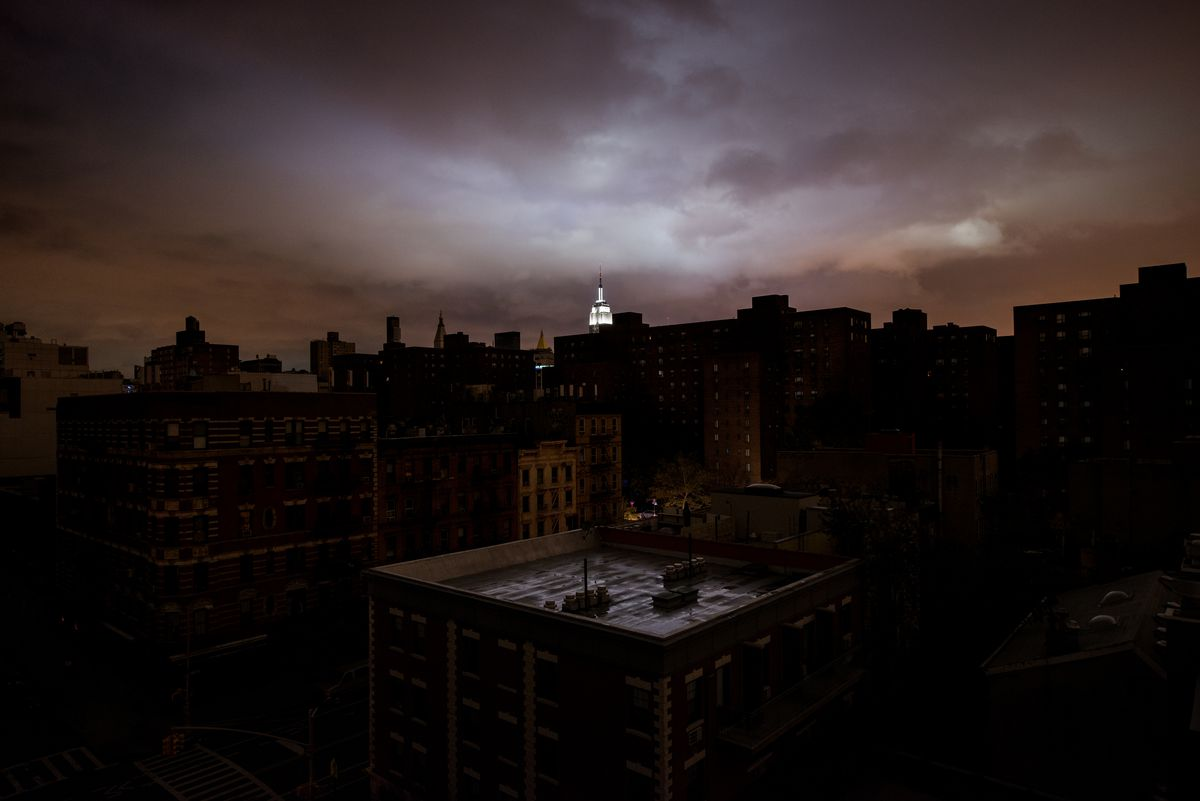 A view of the Empire State Building as seen from a rooftop on 14th Street during the New York blackout in the aftermath of Hurricane Sandy on October 31, 2012, in New York City.