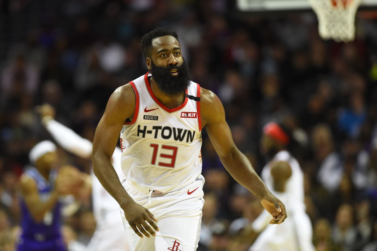 Houston Rockets guard James Harden reacts in the second half at Spectrum Center.