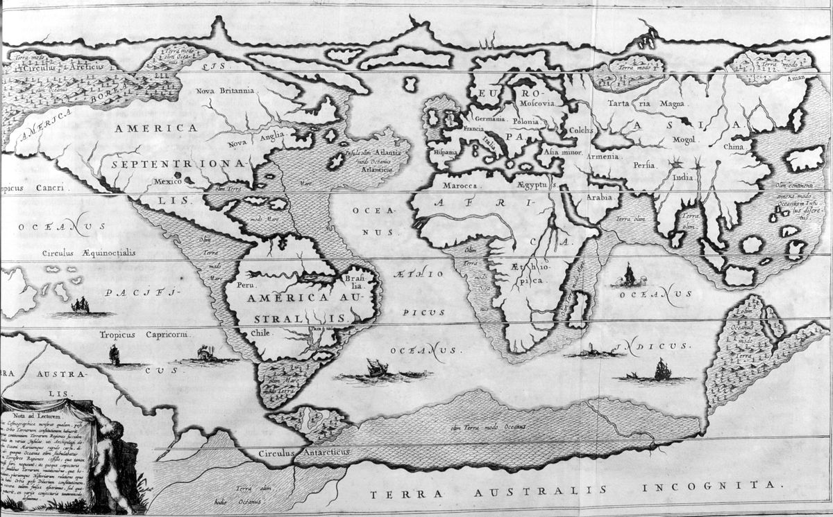 Kircher's map of the world after the Great Flood. (Print Collector/Getty Images)