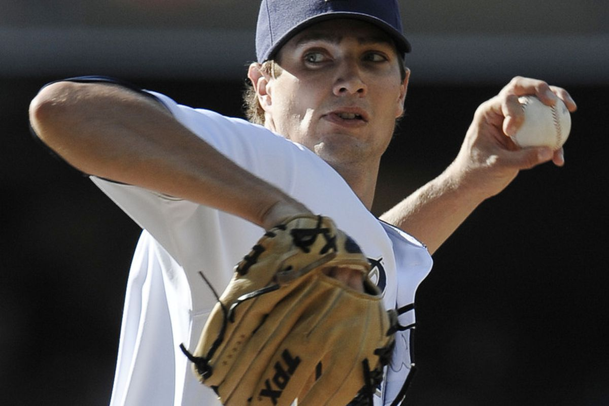 SAN DIEGO, CA - JULY 16:  Cory Luebke #52 of the San Diego Padres pitches during the first inning of a baseball game against the San Francisco Giants at Petco Park on July 16, 2011 in San Diego, California.  (Photo by Denis Poroy/Getty Images)