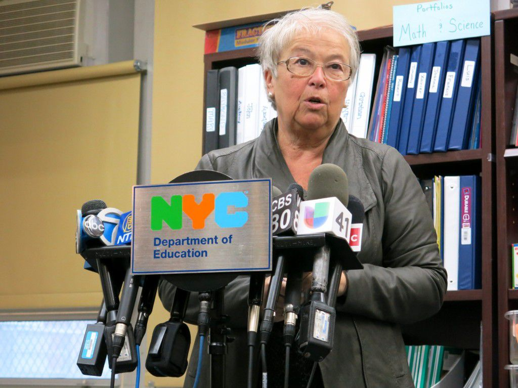 Carmen Fariña at the Bronx's M.S. 223, which she visited on her first school day as chancellor. There she said she supported the Common Core standards, but that teachers need more support.