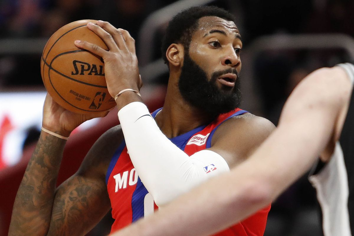 Detroit Pistons center Andre Drummond controls the ball during the first quarter against the San Antonio Spurs at Little Caesars Arena.