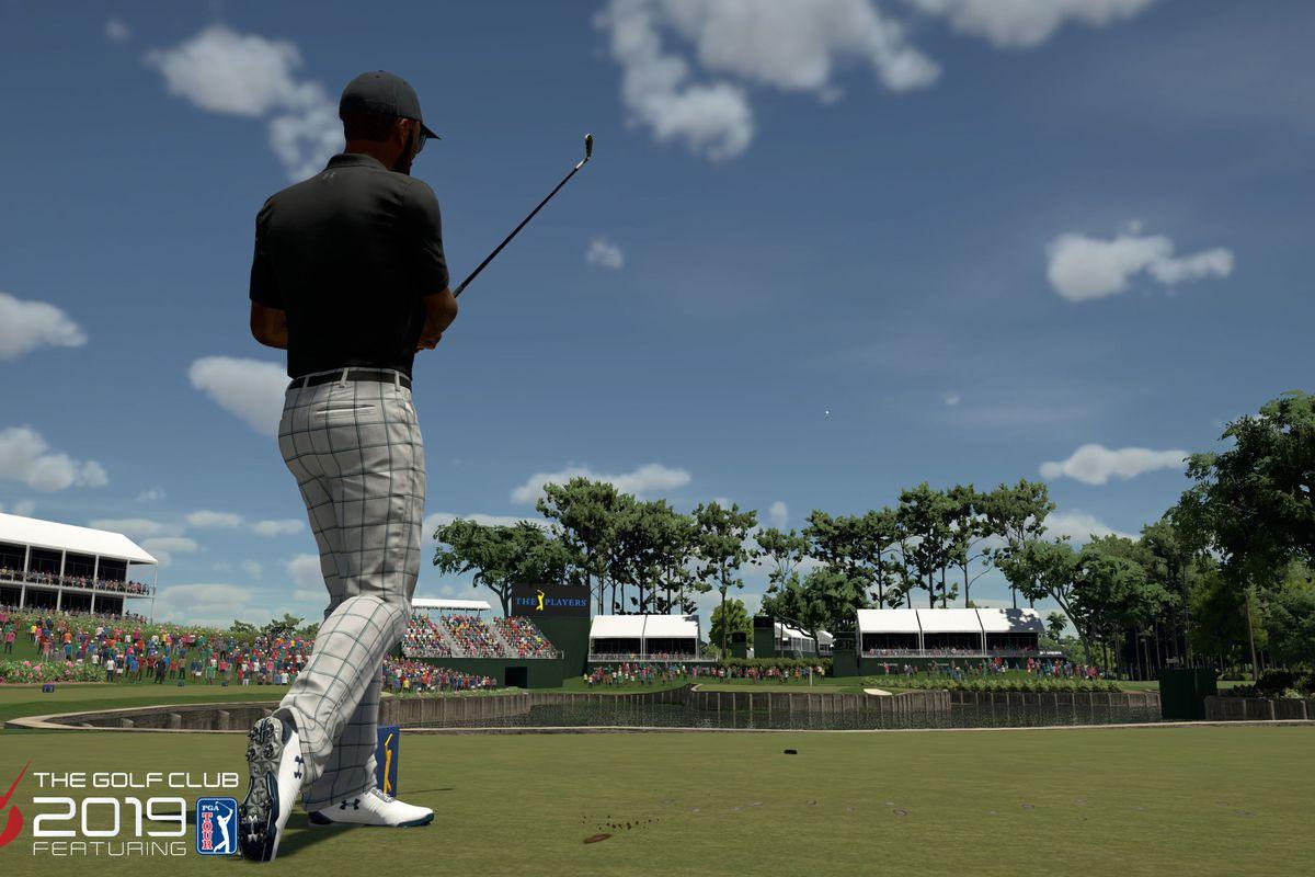 "A golfer in garish gray plaid pants follows the flight of his shot onto No. 17's ""Island Green"" at TPC Sawgrass."