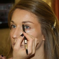 Shaping with Jouer's brow pencil and brow gel.