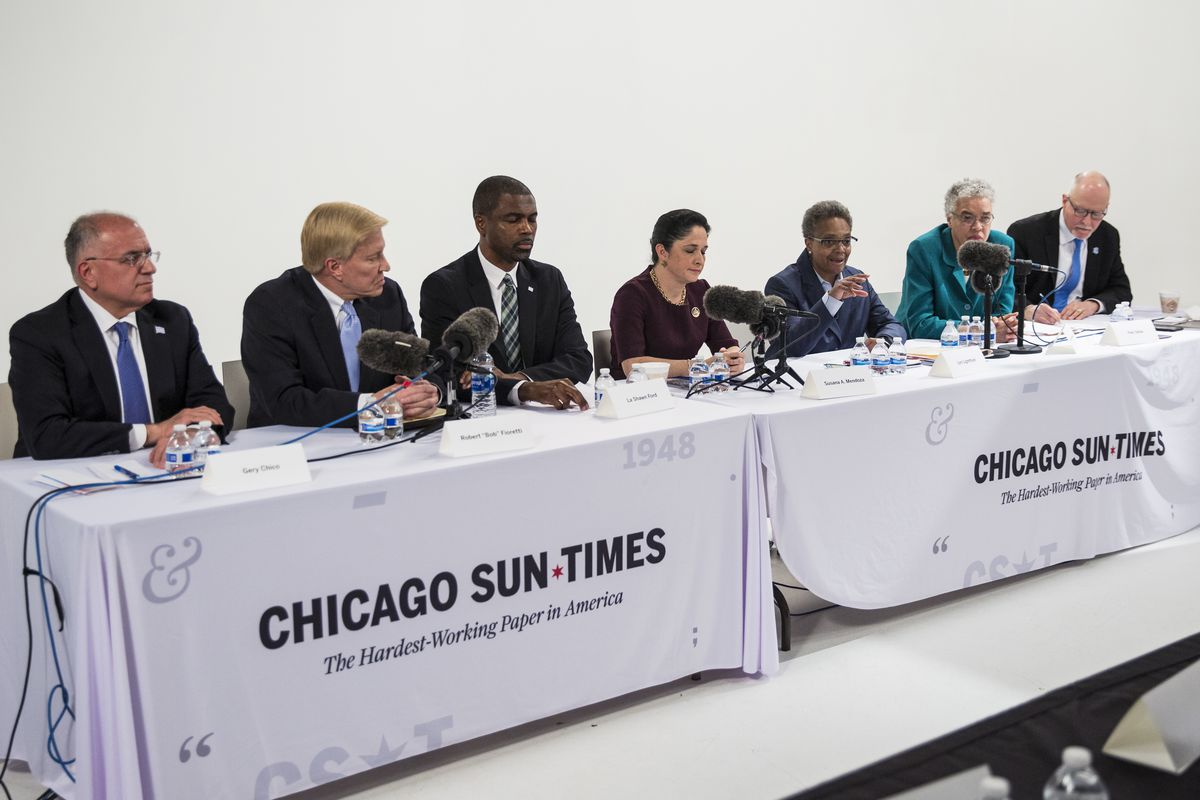 Half of the Round One 2019 mayoral candidates, from left, Gery Chico, Bob Fioretti, state Rep. La Shawn Ford, state Comptroller Susana Mendoza, Lori Lightfoot, Cook County Board President Toni Preckwinkle and Paul Vallas, meet with the Chicago Sun-Times Editorial Board in the second of two forums held before the February 2019 election.