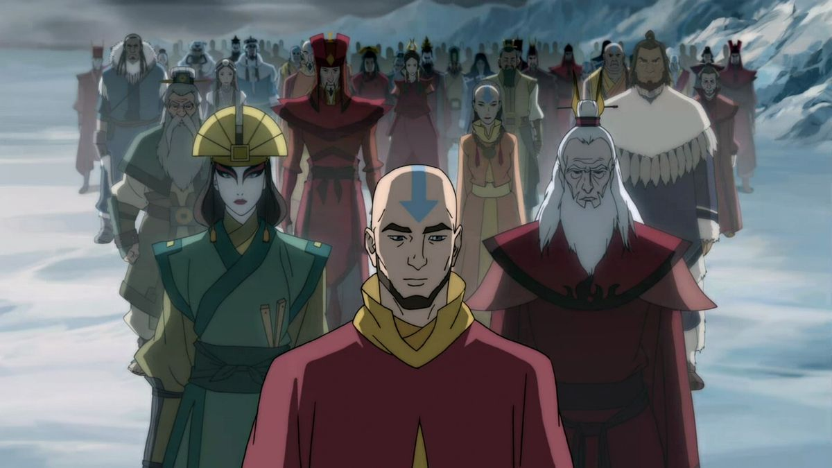 Adult Aang stands at the forefront of a crowd of past Avatars in The Legend of Korra