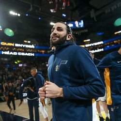 Utah Jazz guard Ricky Rubio (3) takes to the court before the game against the Golden State Warriors at Vivint Arena in Salt Lake City on Tuesday, April 10, 2018.