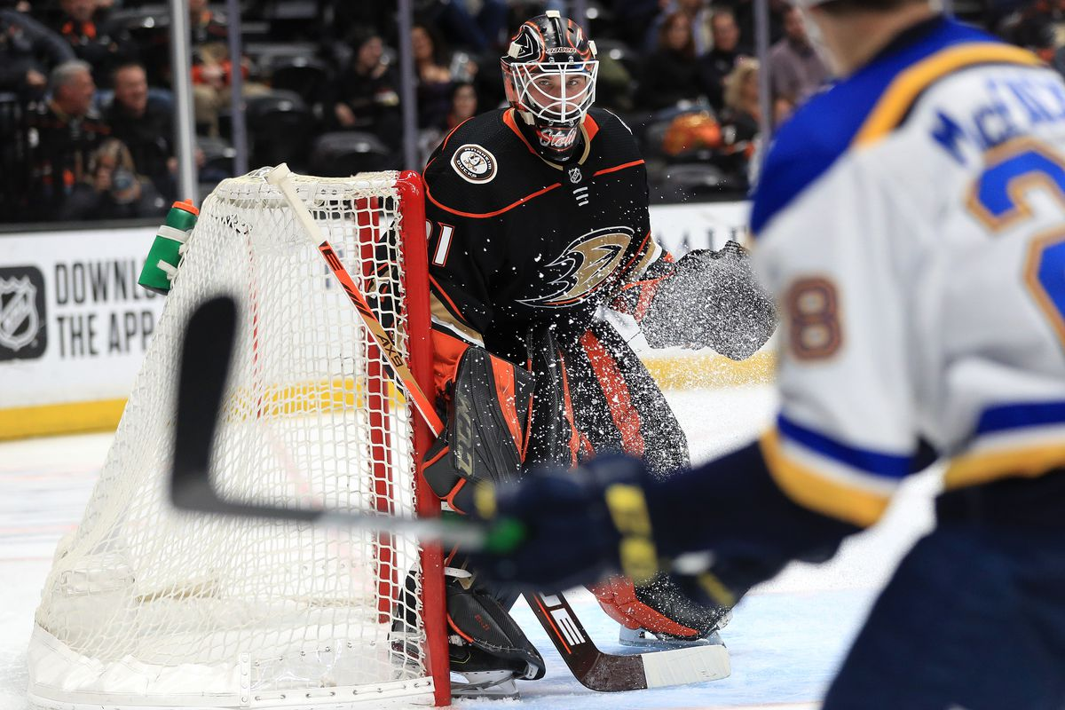 Anthony Stolarz #31 of the Anaheim Ducks tends goal during the second period of a game against the St. Louis Blues at Honda Center on March 11, 2020 in Anaheim, California.