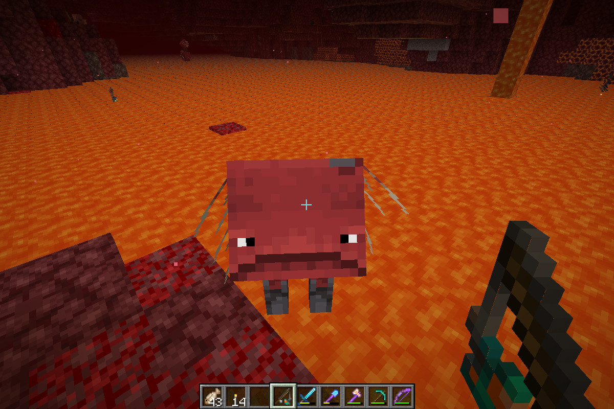 A Minecraft Strider looking up at the player from lava