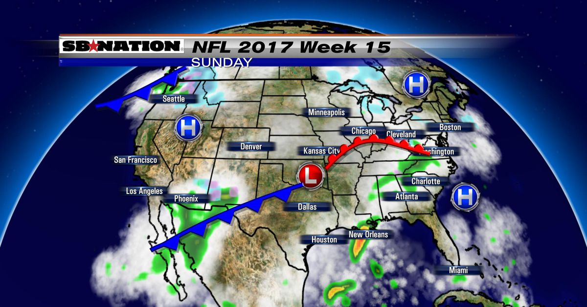 nfl weather forecast 2017  week 15  no snow but a few