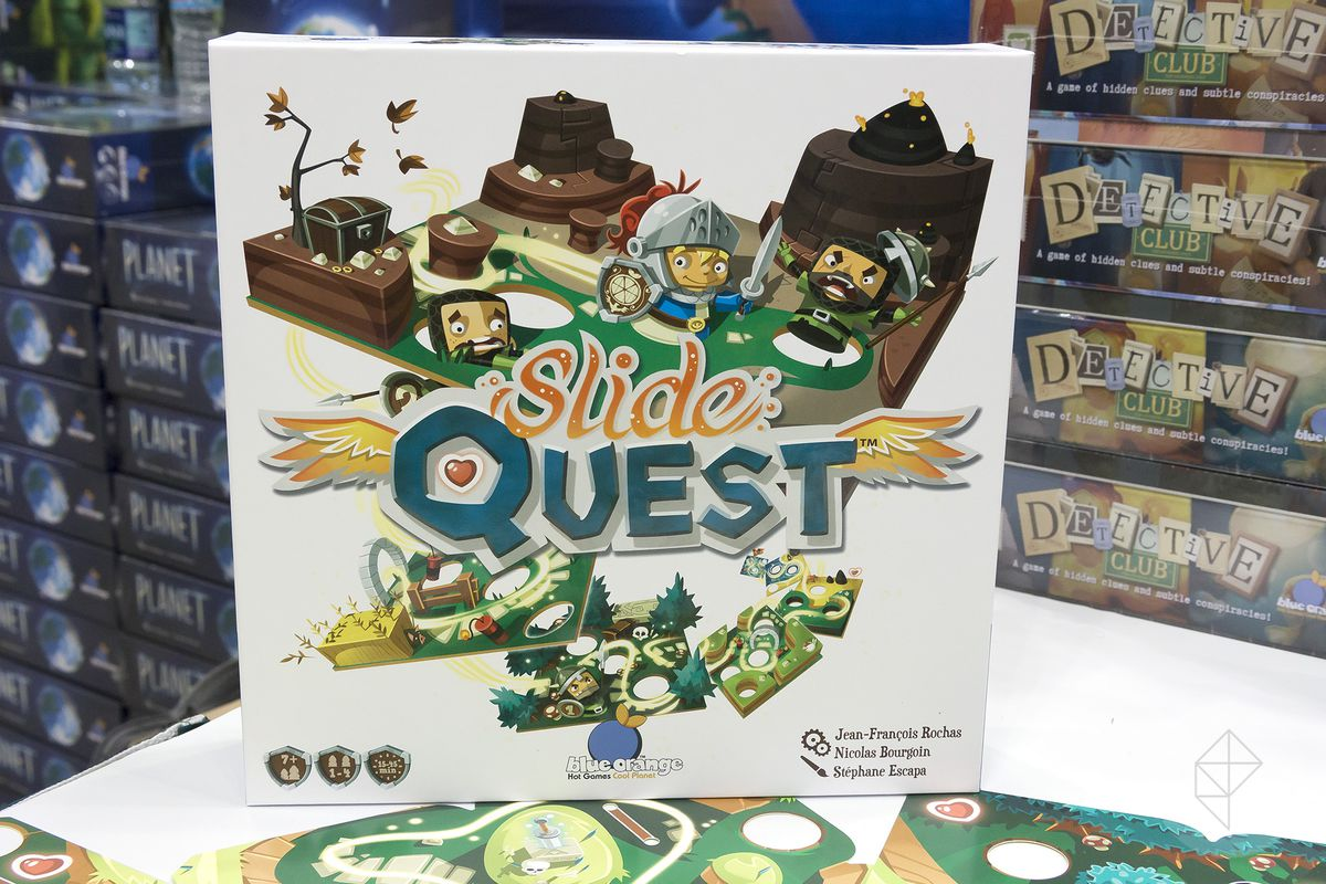 Cover art for Slide Quest shows a stylized knight attacking enemies and pushing them into holes in the map. Below the title multiple maps are stacked on top of one another and fade into the distance.