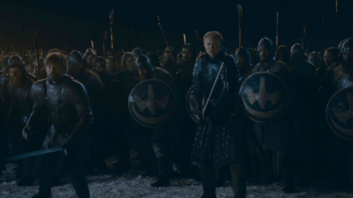 Brienne and the Knights of the Vale at the Battle of Winterfell — Game of Thrones season 8, episode 3