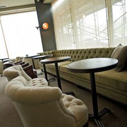The lounge has a warm, cozy feeling