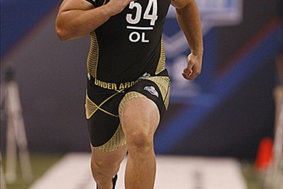 Feb 25, 2012; Indianapolis, IN, USA; Wisconsin Badgers offensive lineman Kevin Zeitler runs the 40 yard dash during the NFL Combine at Lucas Oil Stadium. Mandatory Credit: Brian Spurlock-US PRESSWIRE