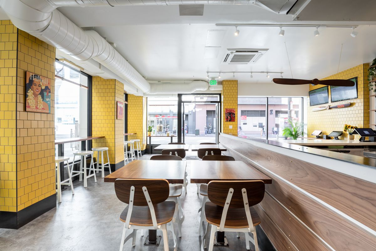 Some seating in the corner space at Flybird