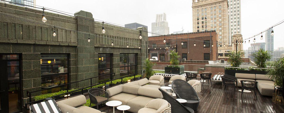 A rooftop terrace bar.