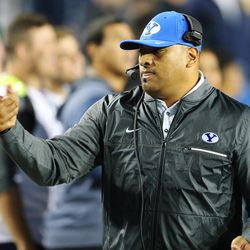 BYU head coach Kalani Sitake shakes hands prior to the game with Boise in Provo on Friday, Oct. 6, 2017.