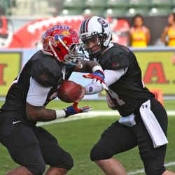 Connor Shaw hands off to James Sims.