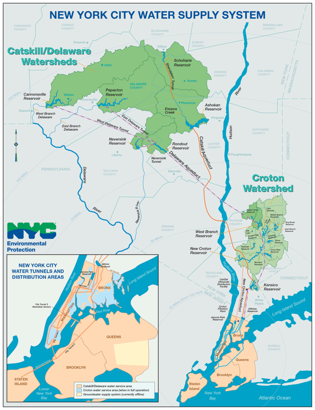 Eight Miles Of Water Underground With Manhattans New Aquatic - Nyc map by area