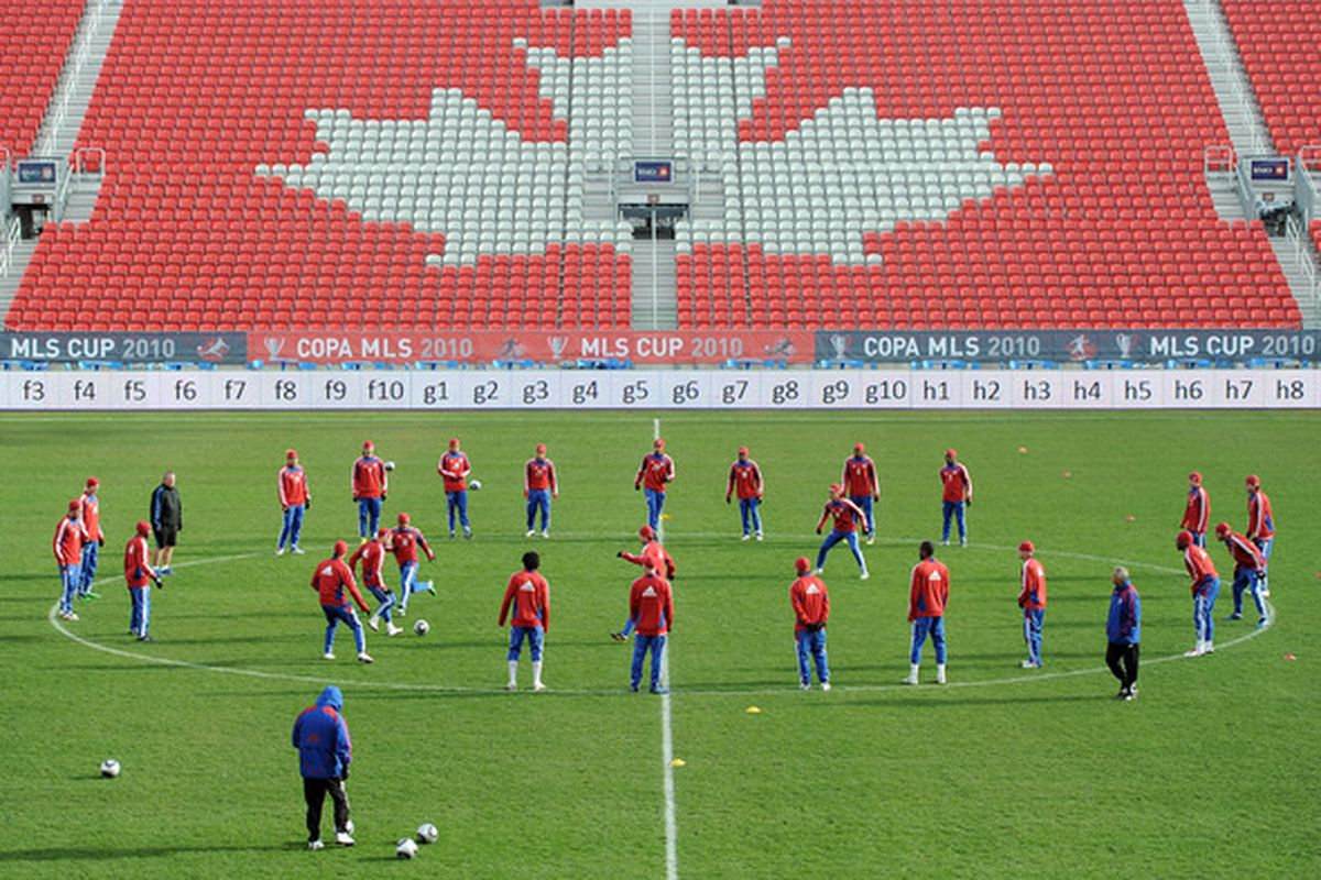 TORONTO - NOVEMBER 20:  FC Dallas train in preparation for the MLS Cup against the Colorado Rapids at BMO Field on November 20 2010 in Toronto Canada.  (Photo by Harry How/Getty Images)
