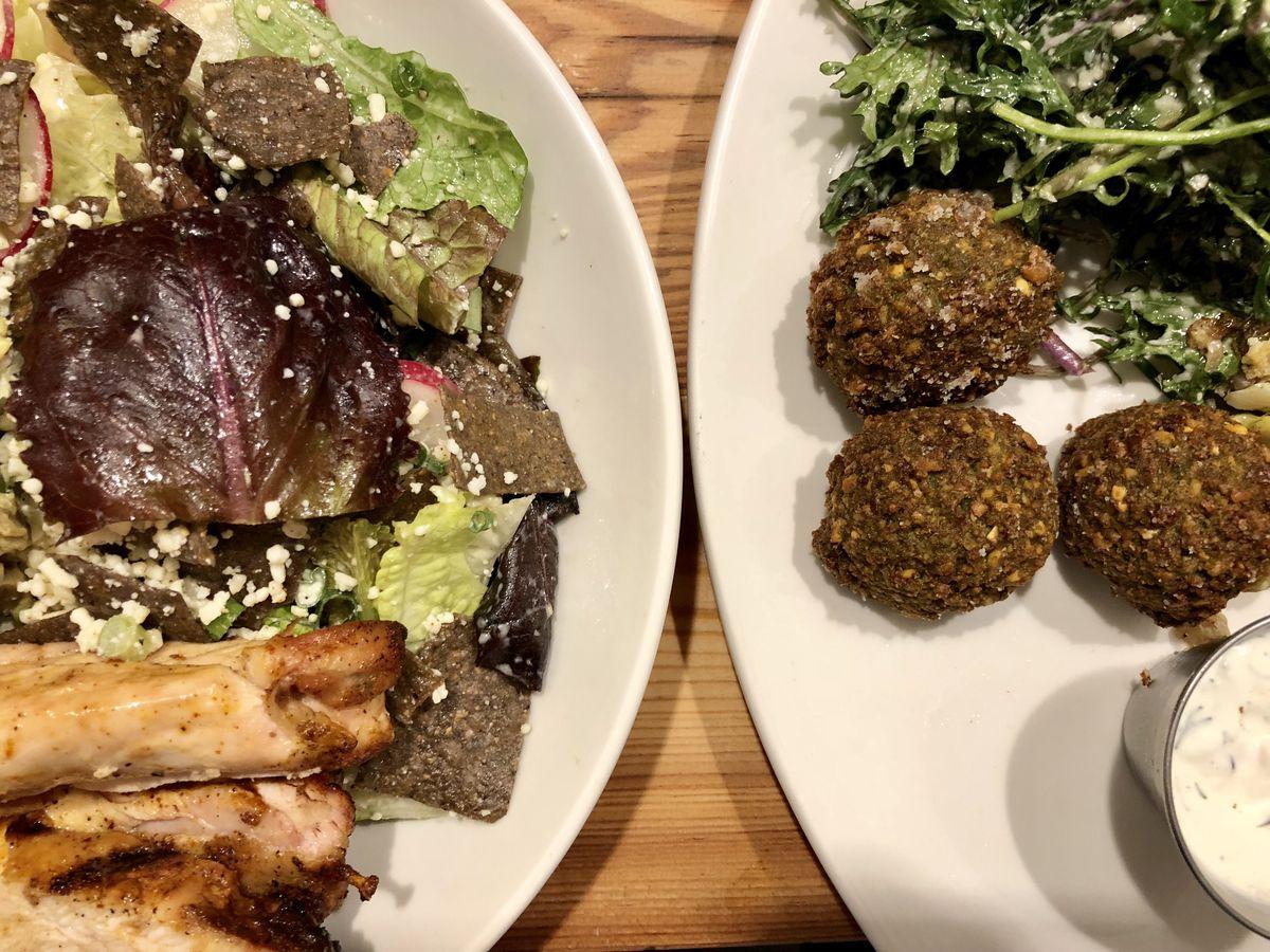 Tender Greens chipotle salad and falafel