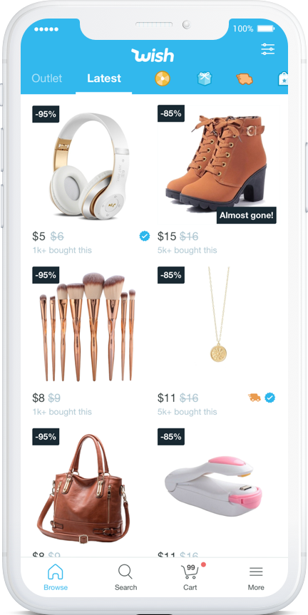 An iPhone displaying the Wish shopping app.