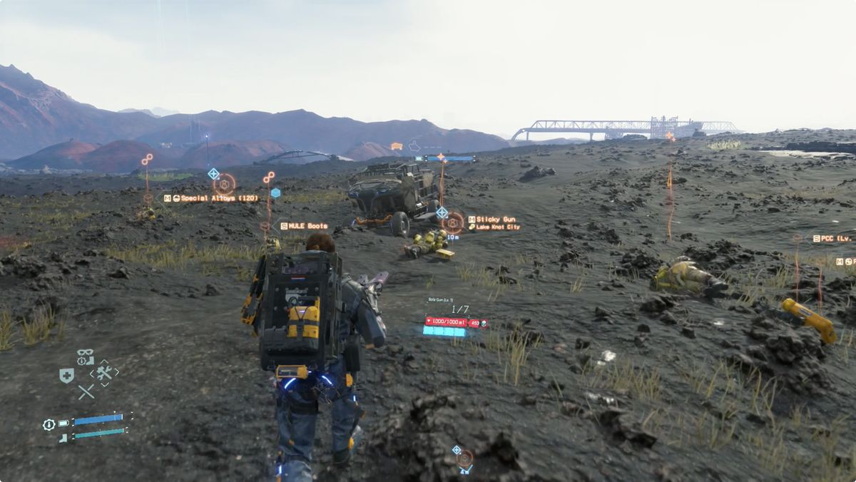 Death Stranding MULEs, a MULE truck, and their cargo.