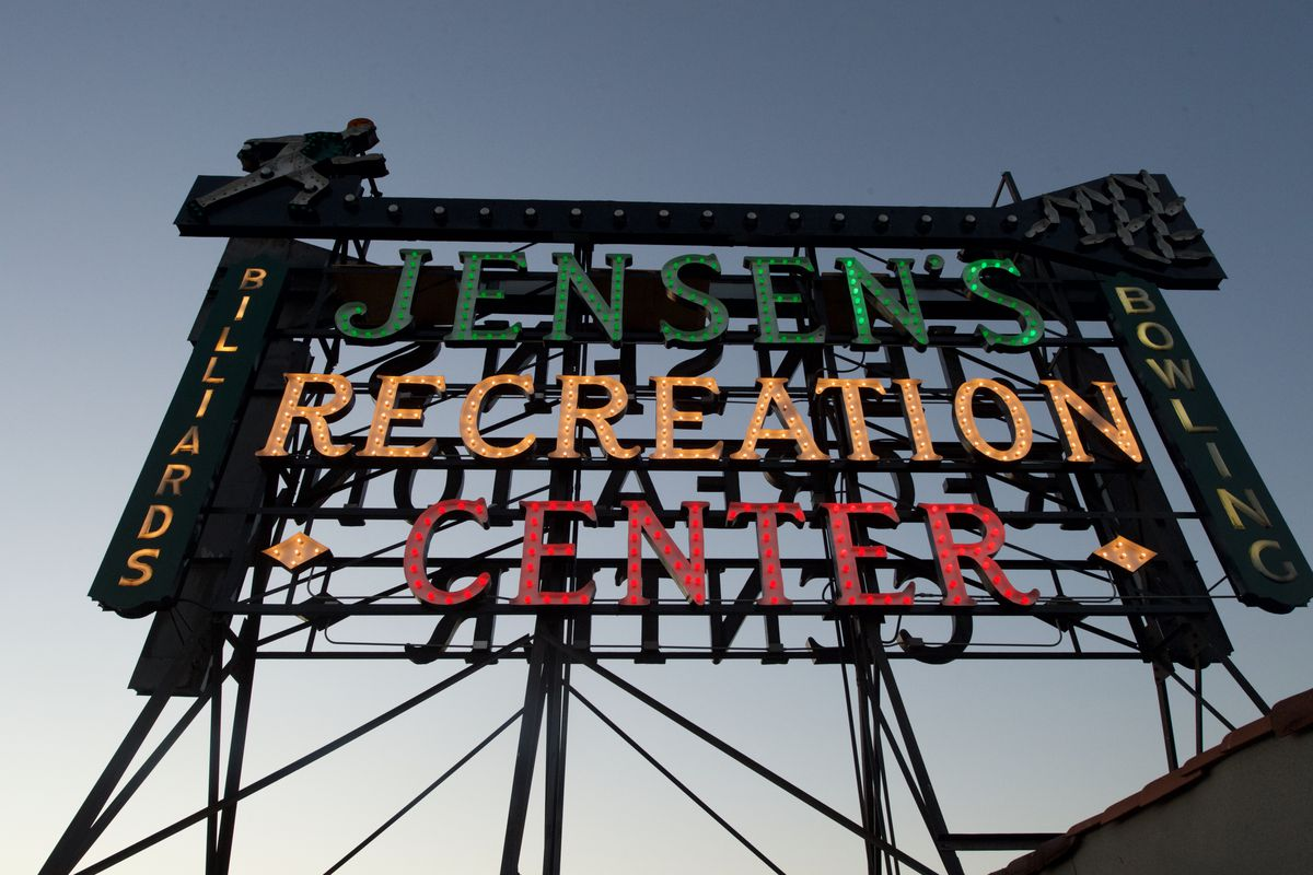 View looking up at Jensen's sign