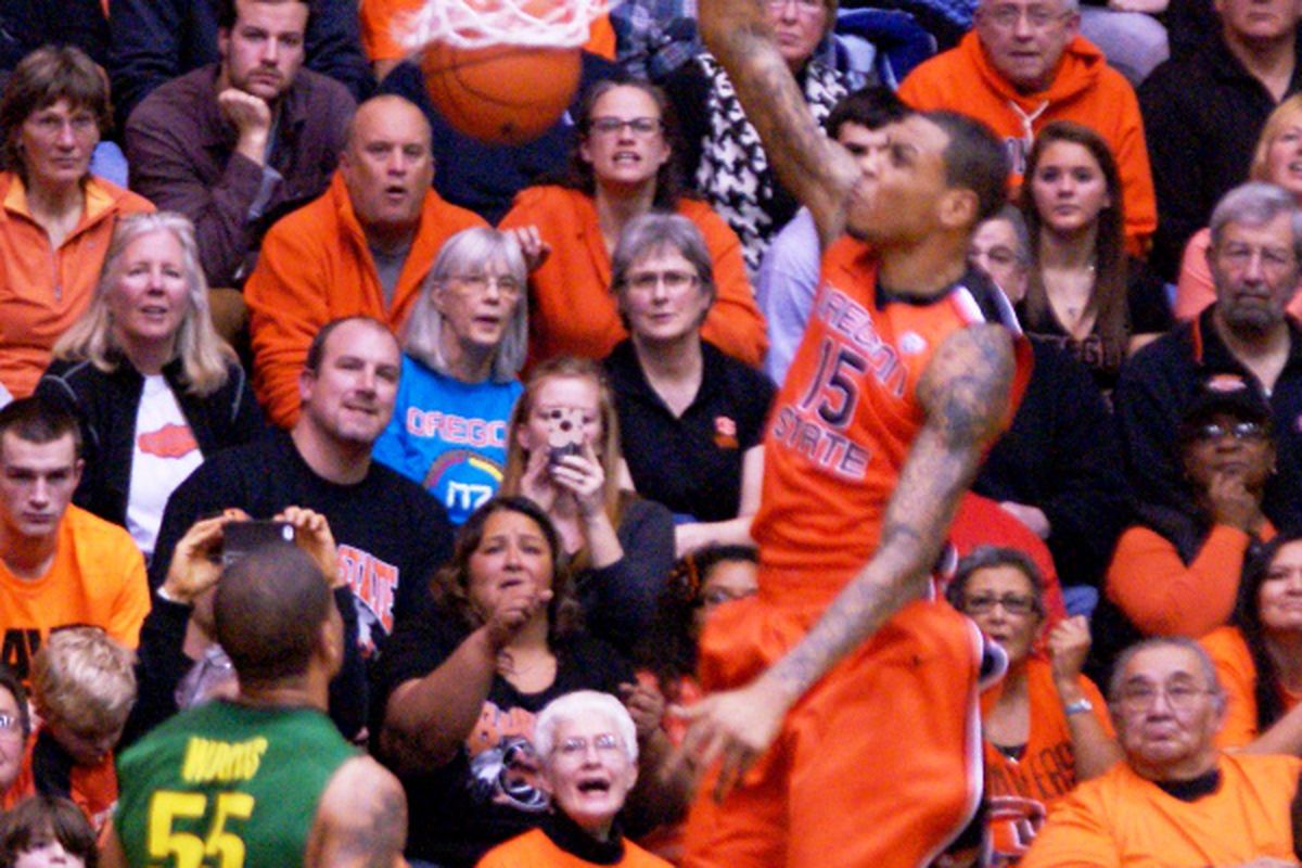 Oregon St. could use a lot more of this from Eric Moreland in their efforts to win a Civil War battle against Oregon tonight, something they were unable to accomplish last year.
