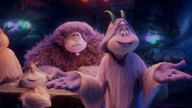 Fleem (Ely Henry), Gwangi (LeBron James) and Meechee (Zendaya) in <em>Smallfoot</em>.