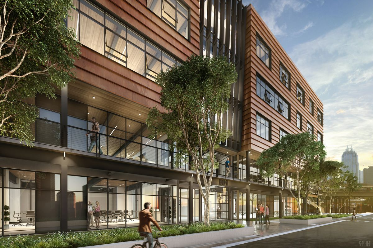 Drawing of four-story Corten-clad building with big windows and glass-walled first floor,street