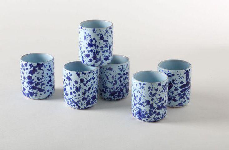 blue splatterware cups