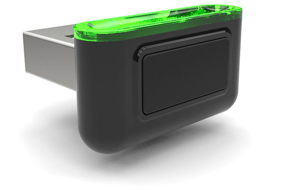 This fingerprint scanner fits into a USB port and will make
